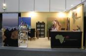 Ein Messestand für Tanzania Experience auf der ITB Berlin. Der Reiseveranstalter ist Spezialist für Safaris in Tanzania.